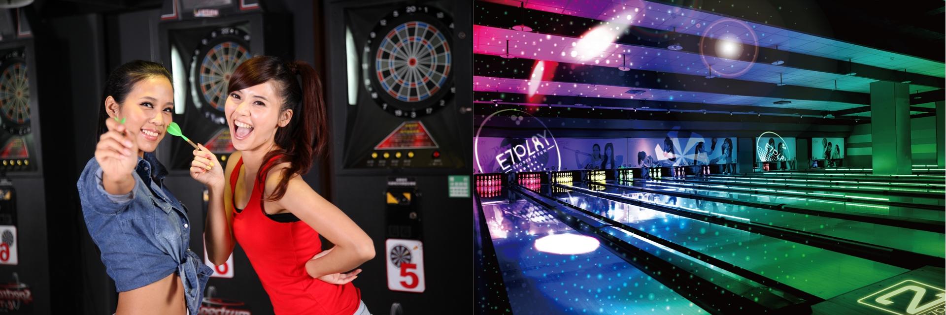 不用飛韓國!台灣也有夜光保齡球啦!「最狂潮玩 E7PLAY」 給你最酷炫的夜店風保齡球,還有超多遊戲機台,一票暢玩到底!